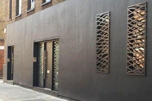Plasma cut exterior details in London.