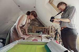 Julia Smith screenprints ceramic slip onto tiles