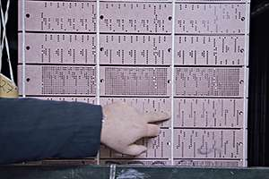 Punchcard used at MYB Textiles