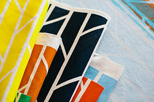 Screenprinted fabric by Laura Spring